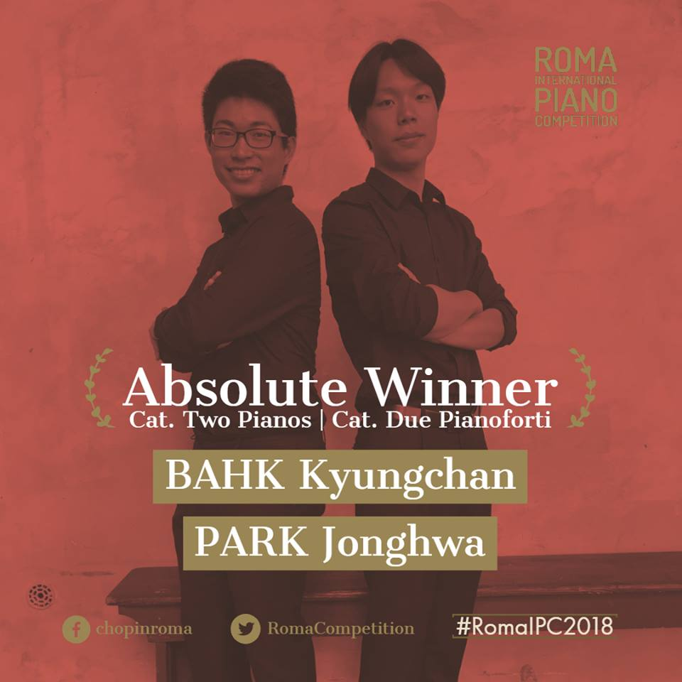 Kyungchan BAHK (24) and Jonghwa PARK (23) (KOR) win Two Pianos Duo Section