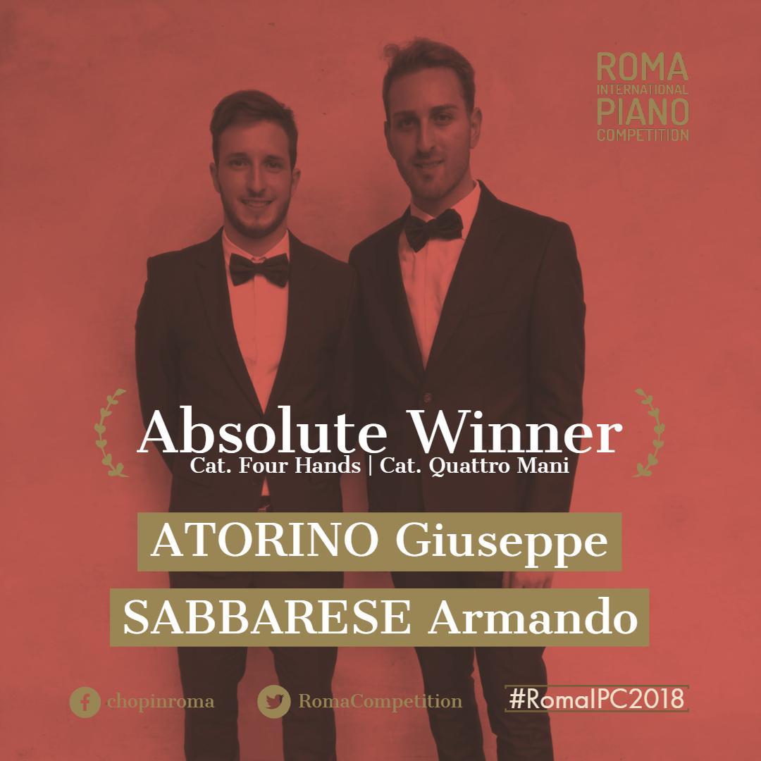 Giuseppe Carmine ATORINO (22 anni) e Armando SABBARESE (25 anni) (ITA) vincono la Sezione Quattro Mani